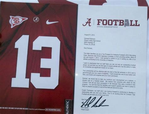 College Letter Sports what an official offer letter from bama looks like