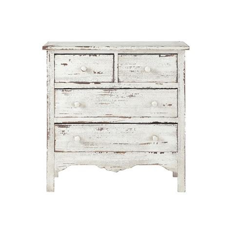 White And Wood Chest Of Drawers by Distressed Wood Chest Of Drawers In White W 77cm Castillon