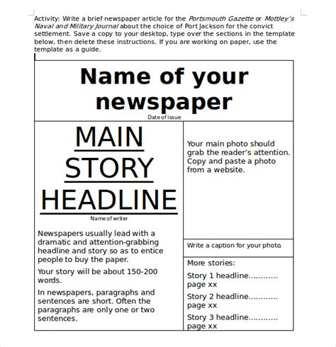 microsoft newspaper template sle microsoft newsletter 7 documents in word