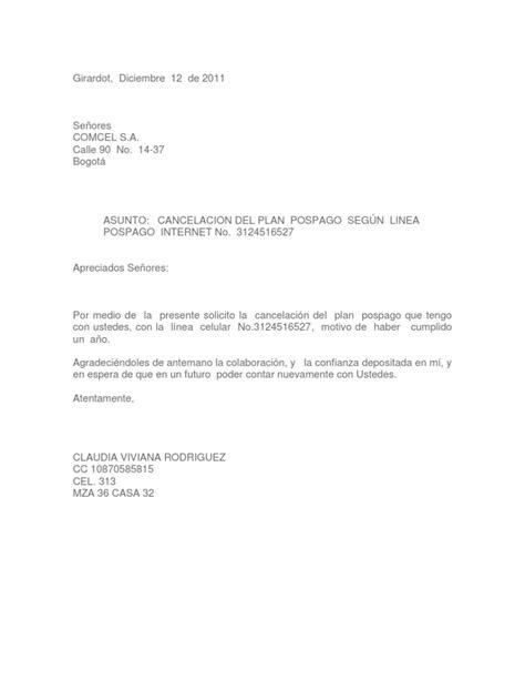 carta de cancelar un servicio carta cancelacion de plan
