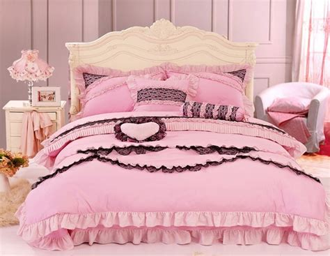 Cheap Kids Comforter Sets Black And Pink Princess Bowtie Ruffled Girls Lace Bedding