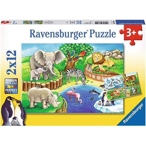 Puzzle Animal 2 jigsaw puzzles animals in the zoo ravensburger 07602