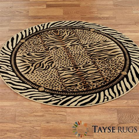Festival Jungle Animal Print Round Rug Animal Rugs