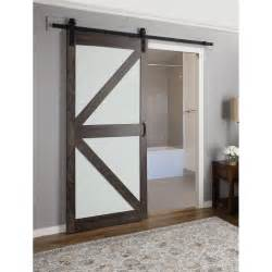 Erias Home Designs Continental Frosted Glass 1 Panel Ironage Laminate Interior Barn