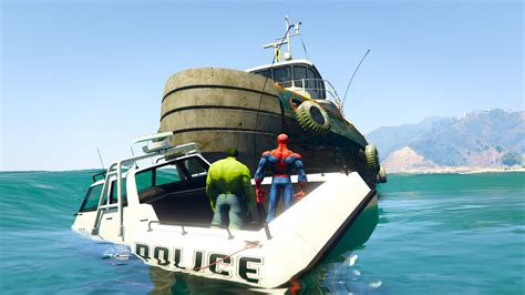 big boat pictures venom crushes police spiderman and hulk on big boat