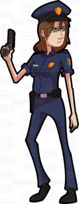 A Female Police Officer Posing With Her Handgun Cartoon Clipart   Vector Toons