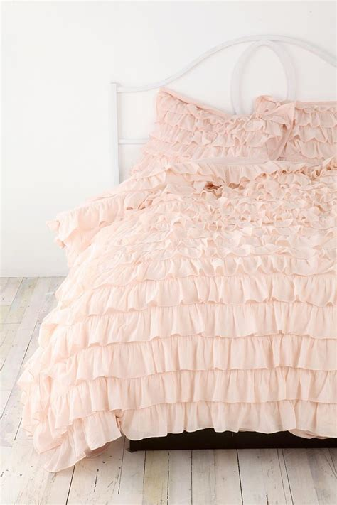 plum bow waterfall ruffle sham set fluffy comforter