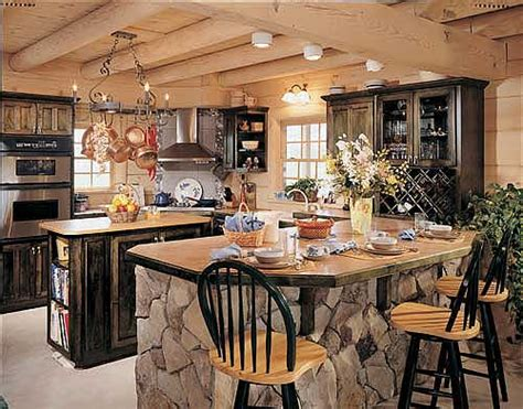 kitchen rock island 33 stunning log home designs photographs