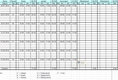 Kostenlose Vorlage Dienstplan Erstellung Dienstpl 228 Nen Mit Excel Freeware De
