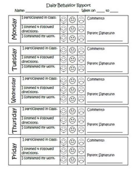 behaviour report card template daily behavior report editable by mph