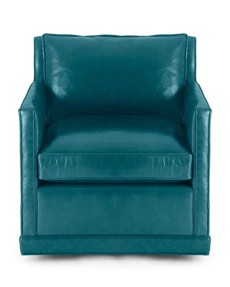 Blue Leather Swivel Chair by St Clair Peacock Blue Leather Swivel Chair