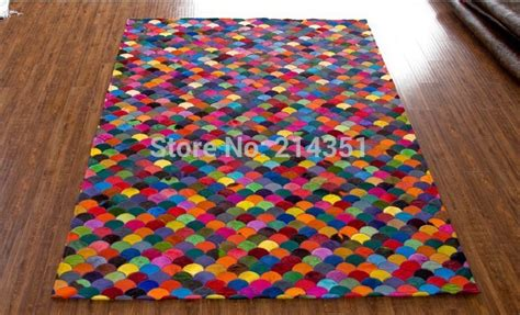 Colorful Modern Rugs by Rainbow Colorful Clouds Luxury Cowhide Seamed Rug Modern