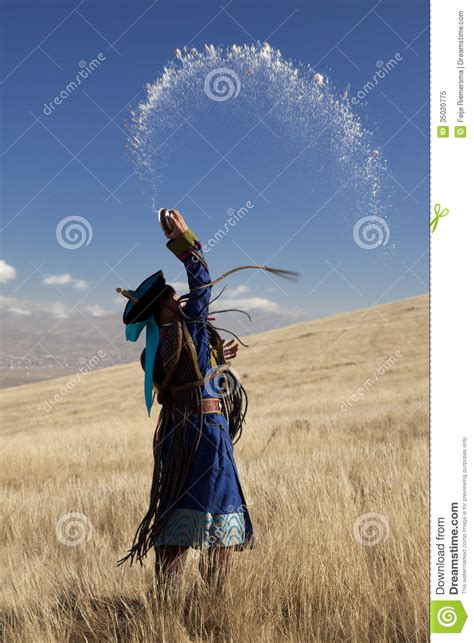 mongolian shaman   offering ceremony editorial image
