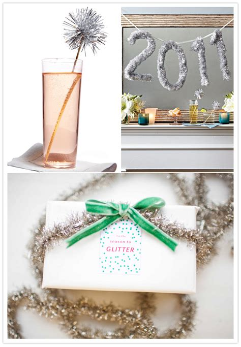 tinsel holiday decor and gift wrap party entertaining