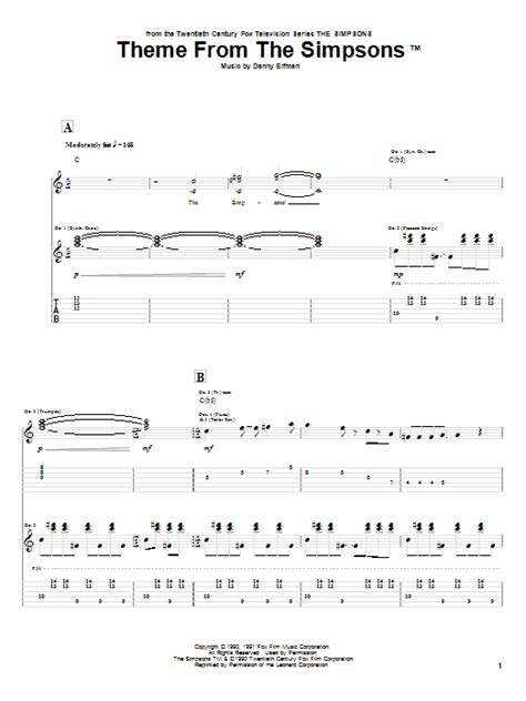 theme songs guitar theme from the simpsons guitar tab by danny elfman guitar