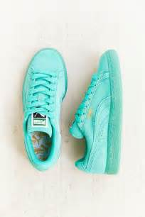 color pumas shoes monochrome suede turquoise sneakers suede