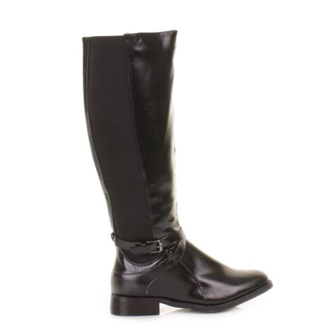 wide calf knee high boots womens black wider wide fit calf stretch
