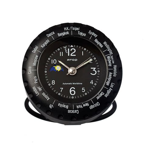 atop world time alarm clock black atop clocks touch of modern