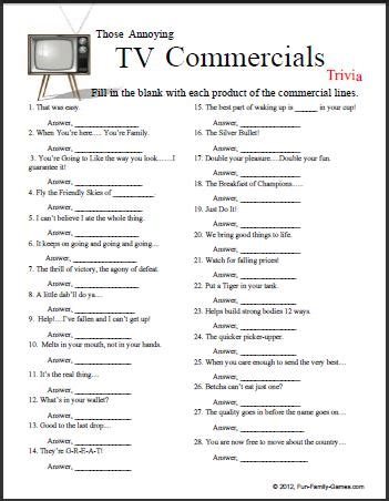 printable word trivia games this tv commercials trivia game will certainly test the
