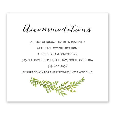 Wedding Invitation Info Card by Watercolor Greenery Information Card Invitations By