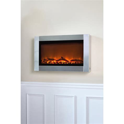 wall mounted electric fireplace stainless steel 281334