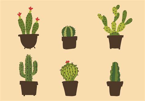 Cactus Planter by Vector Cactus Illustration Set Download Free Vector Art