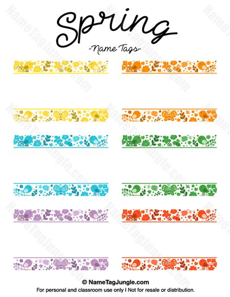 Printable Name Tags For Spring | free printable spring name tags the template can also be