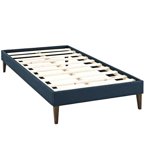 Sharon Modern Twin Fabric Platform Bed Frame With Square Legs Azure