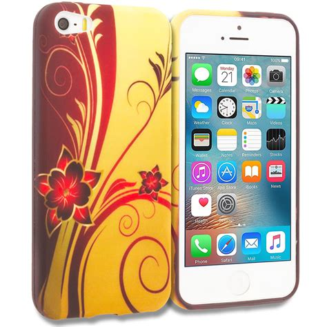 Flower Softcase Iphone 5s Gold for apple iphone 5 5s se tpu design soft skin cover