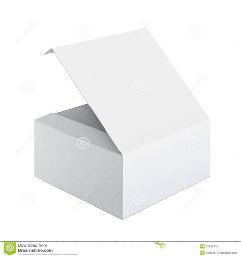 cool realistic white box opened square shape royalty free