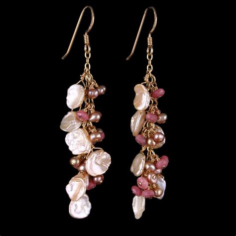Handcrafted Gold Earrings - keshi pearl gold chain rhodolite dangle handmade earrings