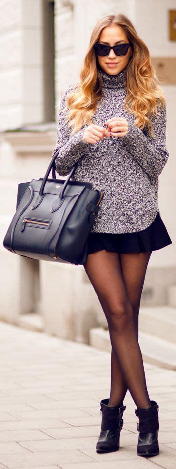 Sweater Skaters 47 s purple knit turtleneck black skater skirt black suede ankle boots black leather tote