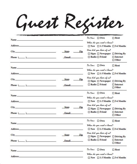 open house guest registration form template sle open house sign in sheet 11 documents in pdf