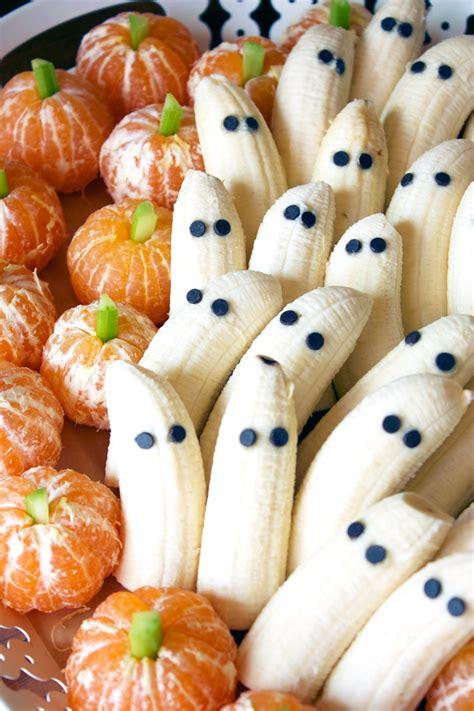 halloween treats tangerine pumpkins banana ghosts flo and grace
