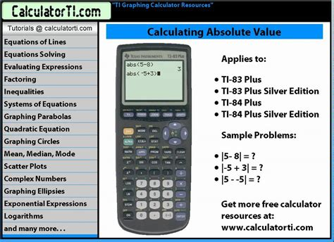 How To Search For On Plus Ti Tutorials Absolute Value Ti 83 Plus And Ti 84 Plus Calculators