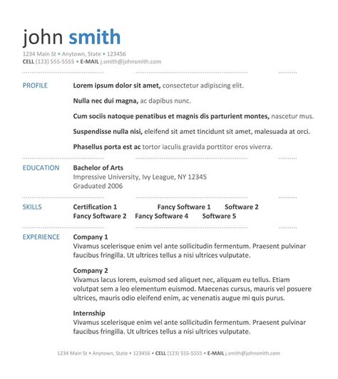 Resume Template by 7 Simple Resume Templates Free Best Professional Resume Templates
