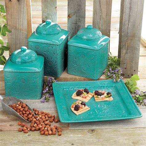 savannah red kitchen canister set savannah turquoise kitchen canister set and platter 2 gif