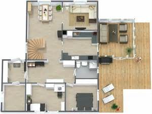 3d furniture layout 3d floor plan aerial view of the main level of a two story home with basement both interior