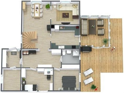 3d furniture layout 3d floor plan aerial view of the main level of a two