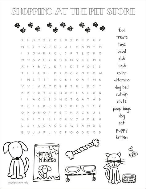 printable dog puzzle pet store word search printable fun for kids pinterest