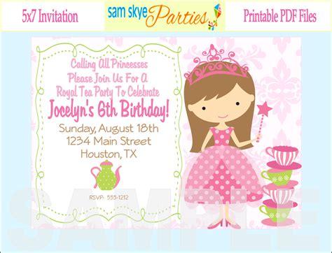 Birthday Invites: Beautiful Princess Tea Party Invitations Printable Ideas Princess Tea Party