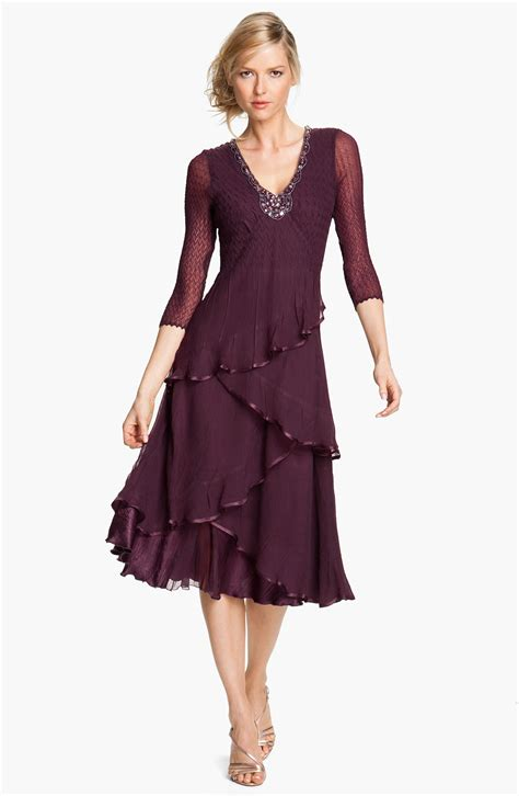 Dress Of The Day Tiered Dress by Komarov Embellished Tiered Chiffon Dress In Purple