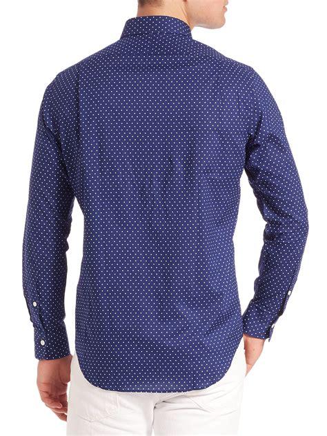 Polkadot Shirt lyst polo ralph polka dot estate shirt in blue for