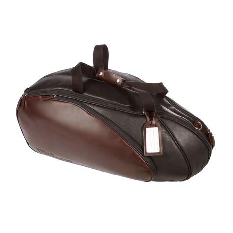 Tennis Media Leather Tote by Wilson Premium Leather Racket Bag 6 Pack Black Buy