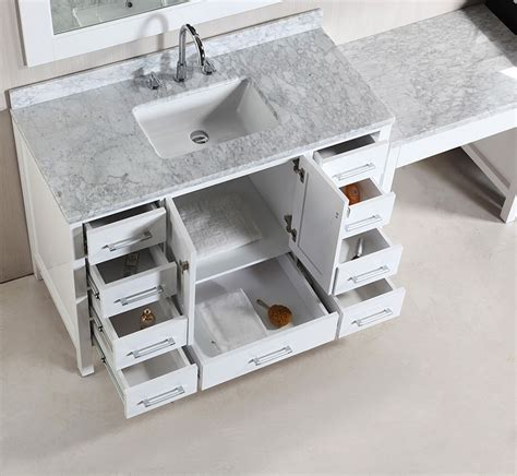 Bathroom Makeup Vanity Table Two 48 Quot Single Sink Vanity Set In White With One Make Up Table In White Bathroom
