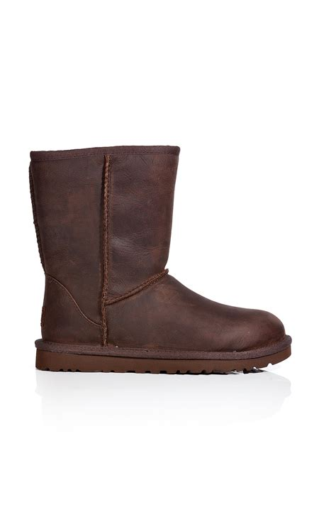 brown leather ugg boots ugg leather classic boots in brown lyst