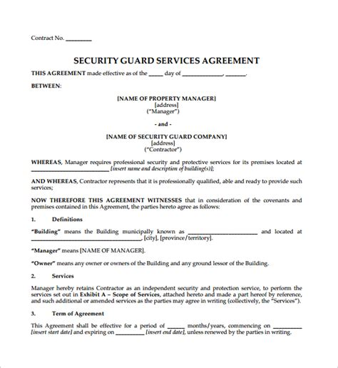 Contract Agreement 9 Download Free Documents In Pdf Word Bodyguard Contract Template