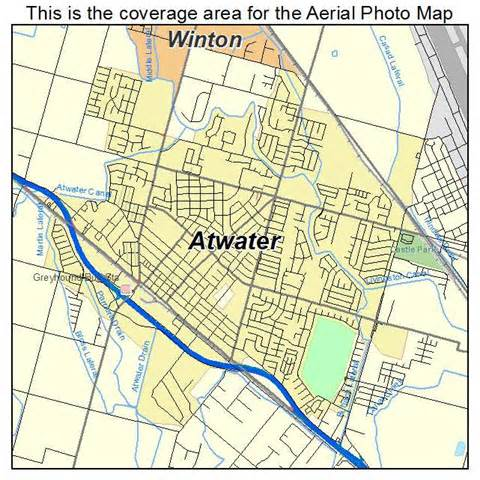 aerial photography map of atwater ca california