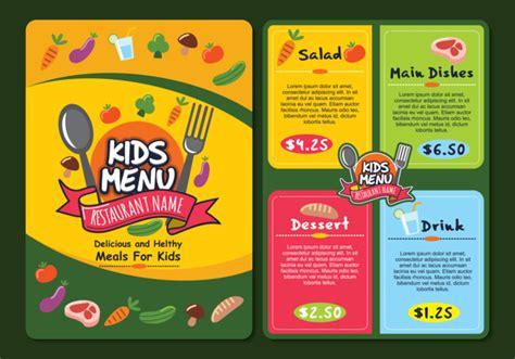 menu design resources cute colorful kids menu template download free vector