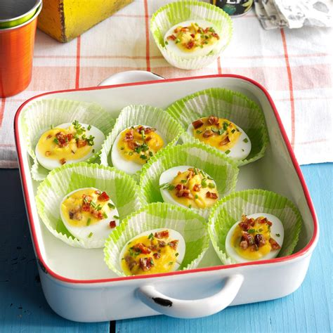 taste of home christmas deviled eggs bourbon candied bacon deviled eggs recipe taste of home